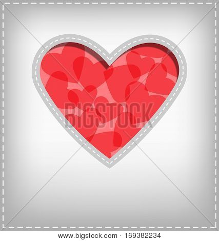 Red and Pink Heart cutout in gray card
