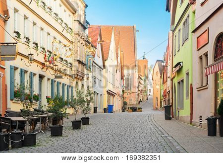 half-timbered houses and historic street of Rothenburg ob der Tauber, Germany