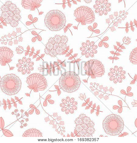 Gentle seamless  pattern with flowers. Cute simple floral ornament. Vector illustration for fabric, scrapbooking paper and other