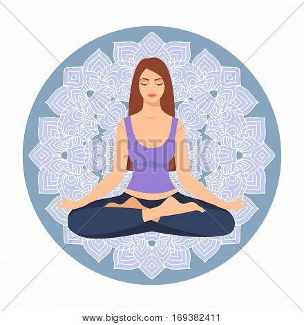 Young woman sitting in yoga lotus pose against the background of a circular ornament. Meditating girl illustration. Yoga woman, meditation, anti-stress people.