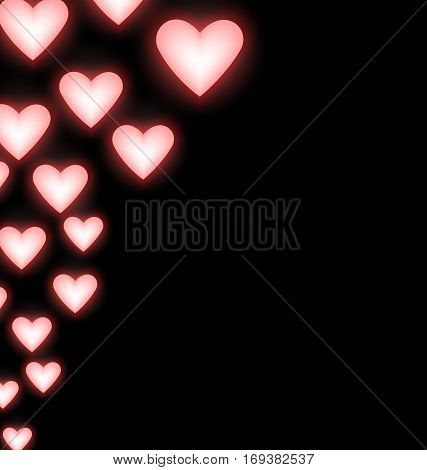 Self-illuminated pink red hearts on black background