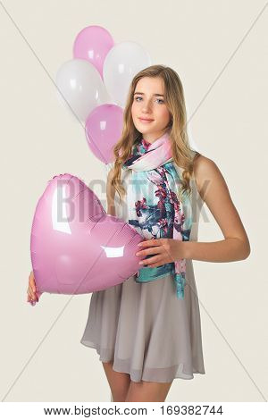 Spring Girl With Love. Baloons And Romantic.