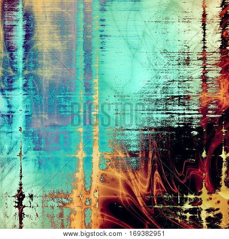 Retro vintage style background or faded texture with different color patterns: yellow (beige); blue; red (orange); purple (violet); cyan; black