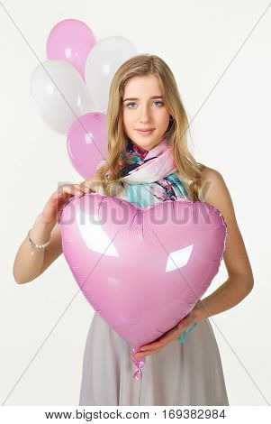 Girl In Spring Look With Pink Baloon Heart. Valentine Day