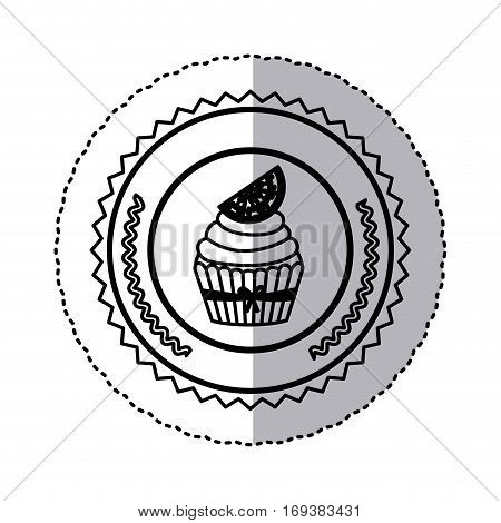 black contour silhouette sticker with cupcake with lemon slice in round frame vector illustration