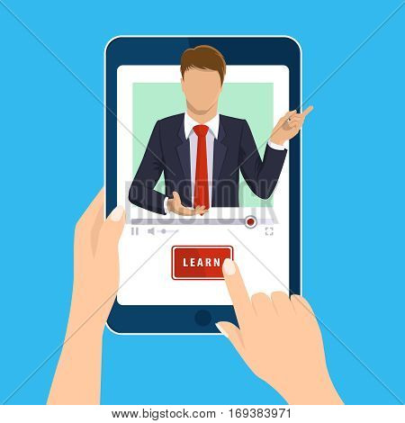 Online learning. E-learning online webinar presentation concept. Hand holds tablet and finger touch vertical screen. Teacher businessman, learn button. Flat design for web site, mobile app