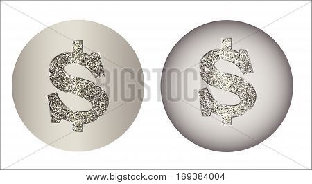 Set of dollar icon from of silver, platinum, gold with sparkle. Sign USA currency is made in flat style. Symbolizes money, luxury, success, can be used in jewelry promotion, web design, etc. Vector.