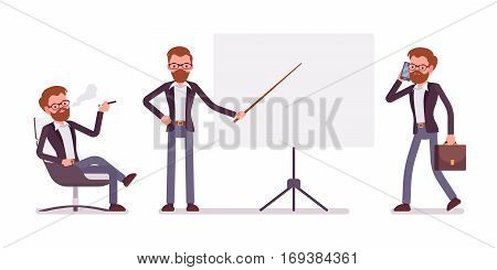 Set of young male handsome manager sitting relaxed in the armchair and vaping, pointing to the empty board, walking and talking on phone, copyspace, full length, isolated against white background