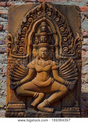 white Brahma statue in Thai temple sculpture god hindu.