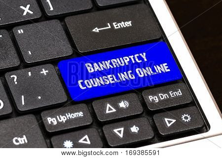 Business Concept - Blue Bankruptcy Counseling Online Button On Slim