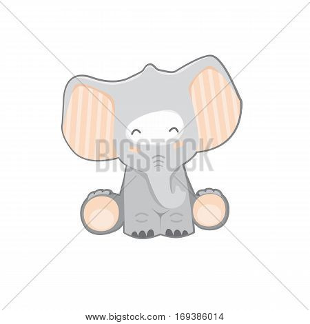 Gray cartoon elephant on a white background