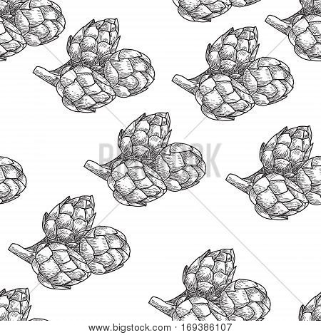 Artichoke Seamless nature seamless vector pattern, hand drawn sketch etch engraving vector illustration. Fresh organic food. Vegetables vintage artichoke pattern.