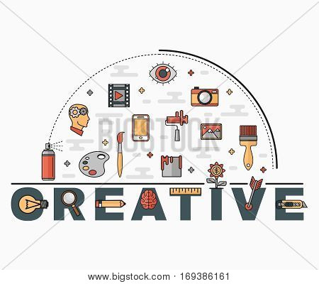 Flat style thin line art design. Set of vector icons and elements of application development, project development. The modern concept of a design