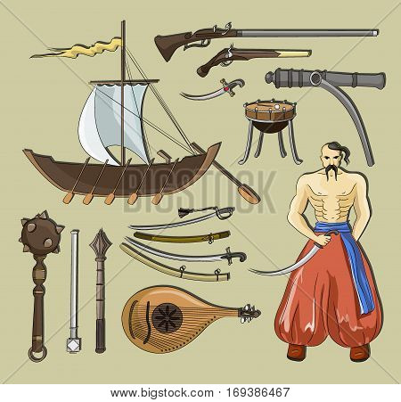 Vector set of Cossacks objects, icons and design elements in flat style. Cossack man, weapons, boats, drum.
