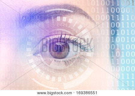 Ophthalmologist concept. Woman's eye, closeup