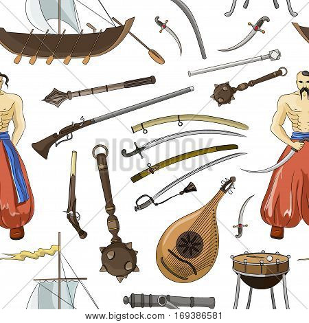 Vector set of Cossacks objects pattern, icons and design elements in flat style. Cossack man, weapons, boats, drum.