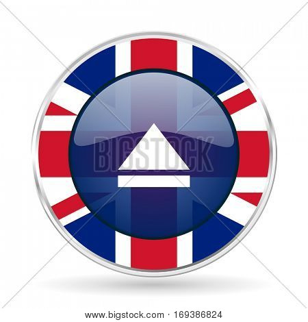 eject british design icon - round silver metallic border button with Great Britain flag