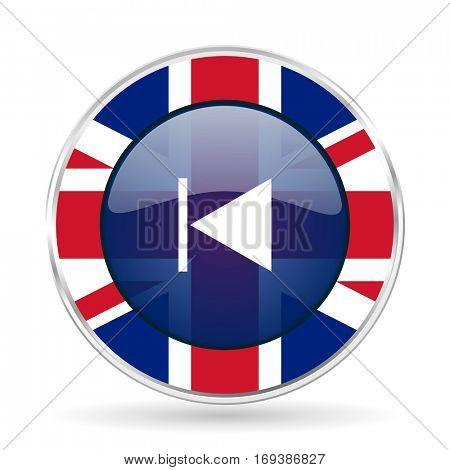 prev british design icon - round silver metallic border button with Great Britain flag