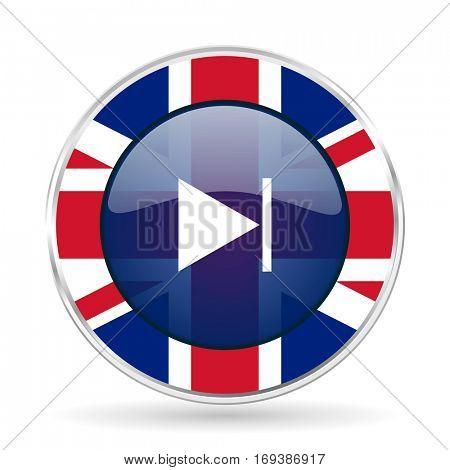 next british design icon - round silver metallic border button with Great Britain flag