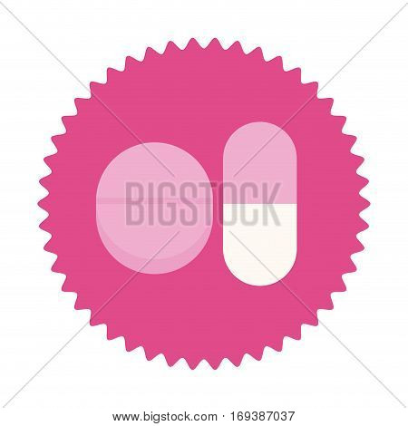 pills for breast cancer in round frame vector illustration
