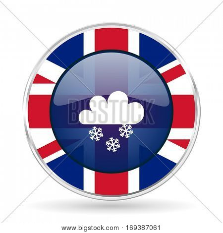 snowing british design icon - round silver metallic border button with Great Britain flag