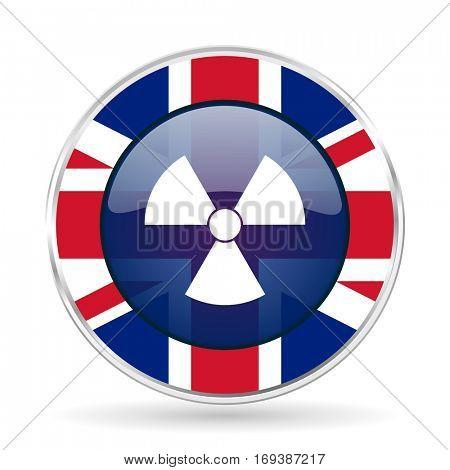 radiation british design icon - round silver metallic border button with Great Britain flag