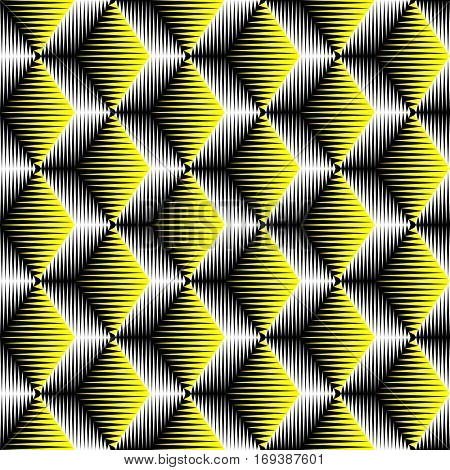 Seamless 3d Cube Pattern. Vector Volume Background. Yellow Fashion Ornament. Decorative Geometric Wallpaper
