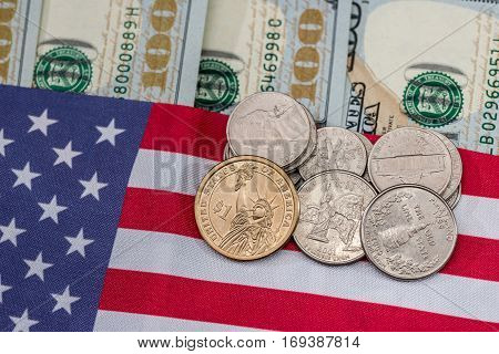 Usa Flag With Dollar Bills And Coin. Macro