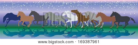 Vector background with horses and stars running gallop in the night