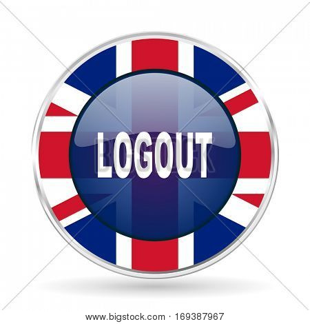 logout british design icon - round silver metallic border button with Great Britain flag