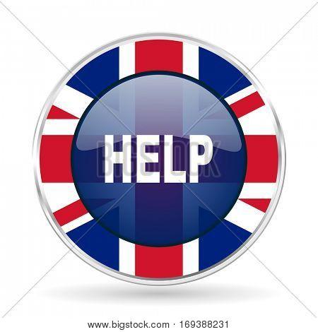 help british design icon - round silver metallic border button with Great Britain flag