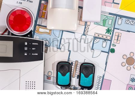 alarm system home on house plan .