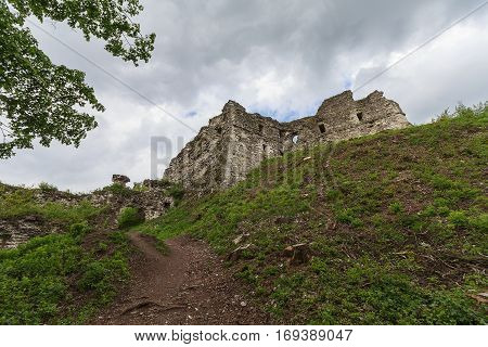 Ruins of the old medieval castle. Hust Ukraine