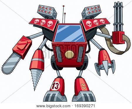 Red cartoon robot in full battle gear.