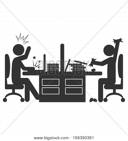 Flat office icon with angry workers isolated on white background