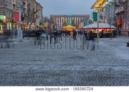 DNEPR UKRAINE - DECEMBER 25, 2016:Winter landscape on European avenue at weekend evening in Dnep, Ukraine at December 25, 2016