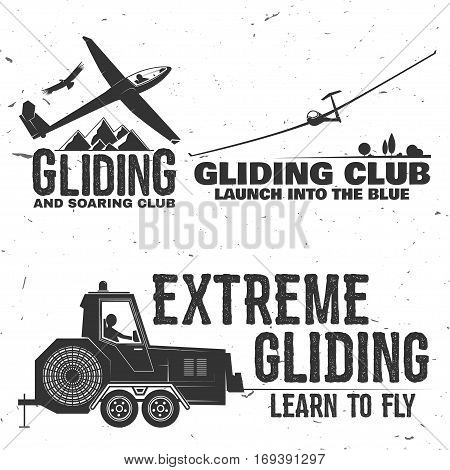 Set of Gliding club retro badge. Concept for shirt, print, seal, overlay or stamp. Typography design- stock vector.