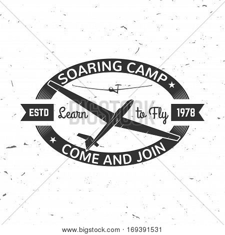Soaring camp retro badge. Concept for shirt, print, seal, overlay or stamp. Typography design- stock vector. Soaring camp design with gliders silhouette.
