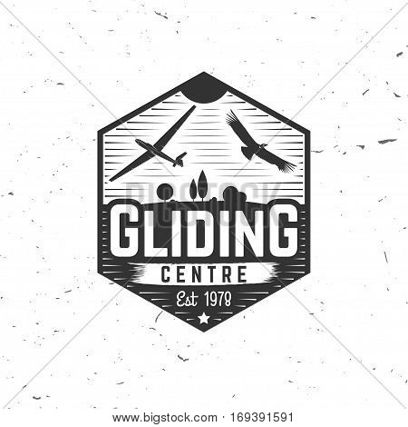 Gliding centre retro badge. Concept for shirt, print, seal, overlay or stamp. Typography design- stock vector. Gliding centre design with condor and airplane silhouette.