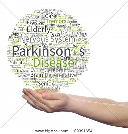 Concept conceptual Parkinson`s disease healthcare nervous system disorder abstract word cloud held in hands isolated on background  metaphor to healthcare, illness, degenerative, genetic symptom brain