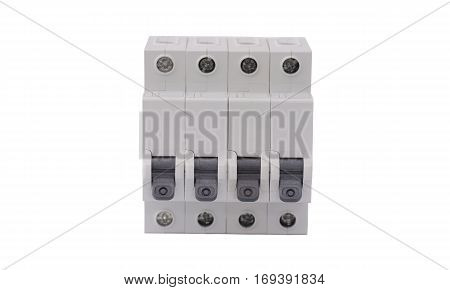 Batch of circuit breaker isolated on white background.