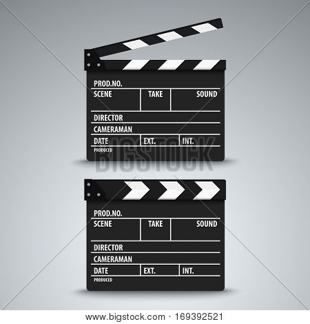 Open and closed film flap template vector eps 10