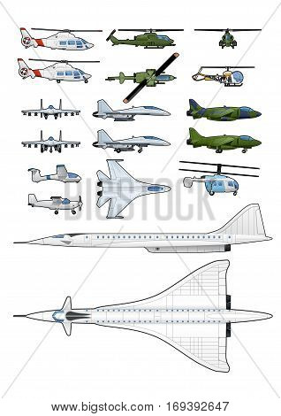 Vector illustration set of different modern airplanes and helicopters. isolated on white background.