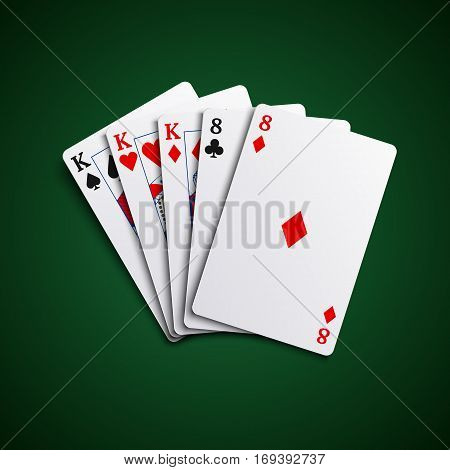 Poker hand cards full house template vector eps 10