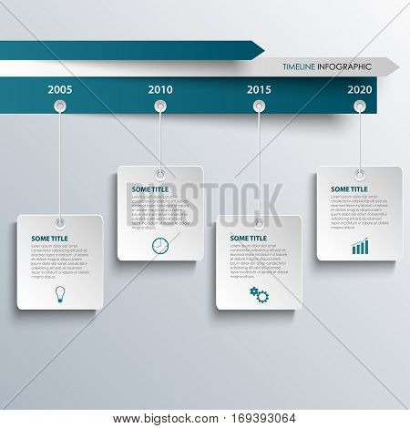 Time line info graphic with hanging white blue labels template vector eps 10
