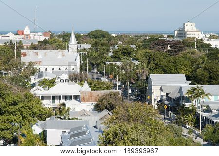 The view from Key West town historic Lighthouse of Whitehead Street (Florida).