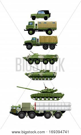 Photo realistic vector illustration set of different modern and vintage military vehicles. isolated on white background.
