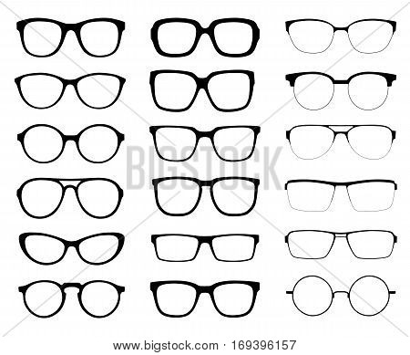 A set of glasses isolated. Vector glasses model icons. Sunglasses glasses isolated on white background. Silhouettes. Various shapes - stock illustration.