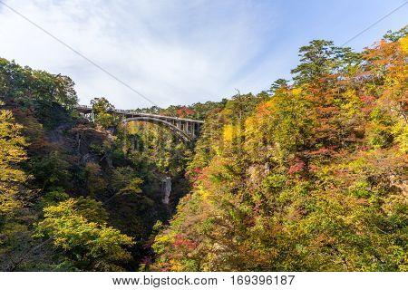 Bridge crossing though Naruko Gorge
