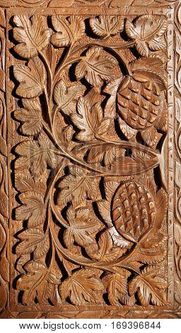 wooden hand carved pattern closeup image b